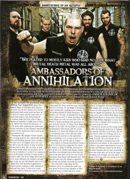 Annotations of an Autopsy shoot for Terrorizer Magazine, Siege of Amiga Records press shoot