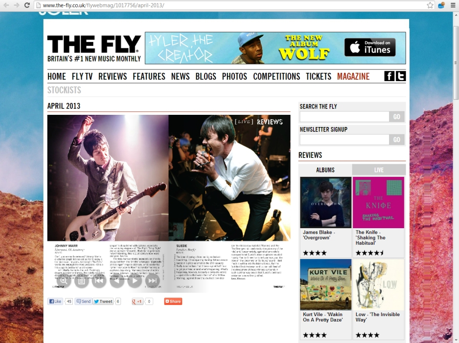 The Fly magazine Suede Live review